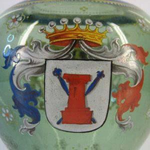 """Ваза. Богемское стекло, ручная роспись. Европа, XIX век, стиль """"историзм"""". Высота: 30 см."""