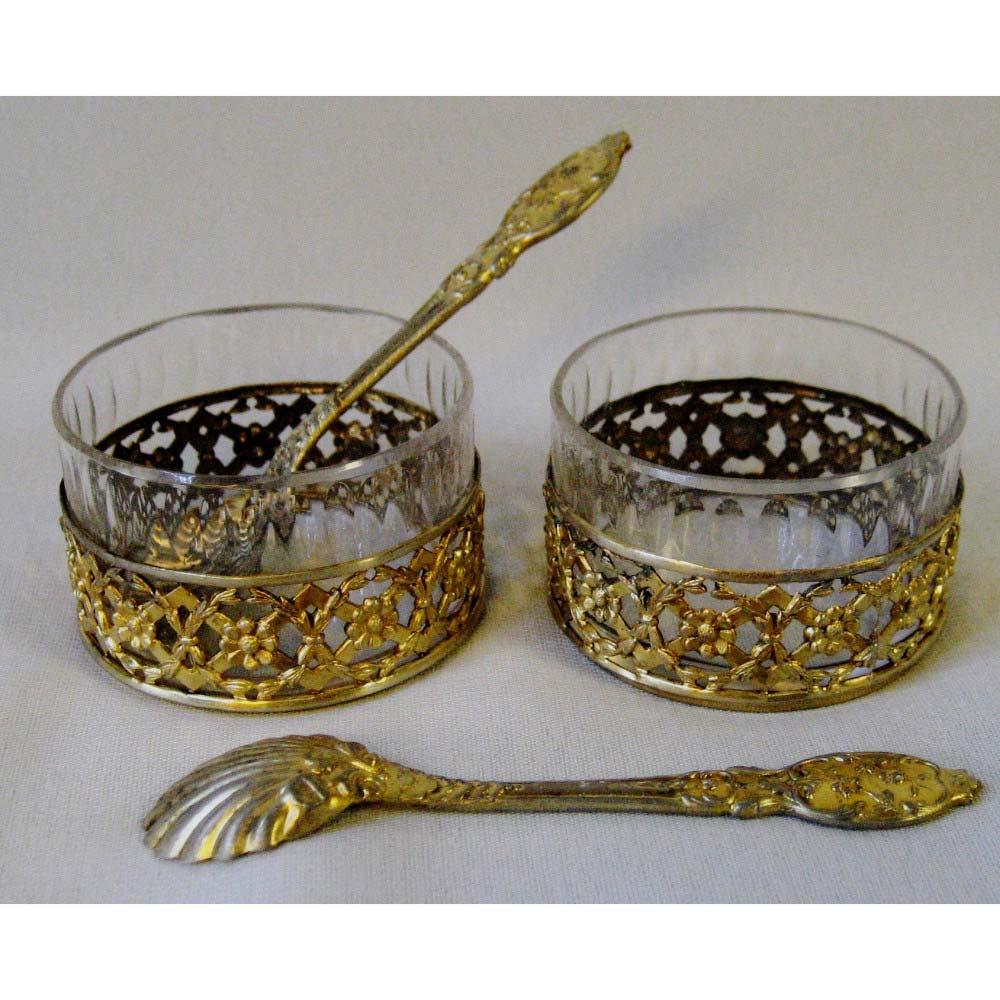 Подарочный комплект парных солонок. Серебро 800, золочение, стекло. Франция, XIX век.