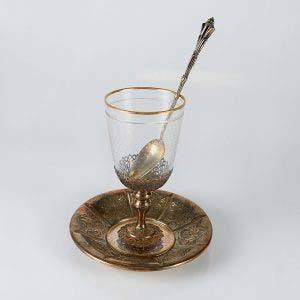 Десертный набор . Серебро 800, стекло «баккара», золочение. Франция, фирма, Escalier de Cristal, XIX век. Высота: 15 см.