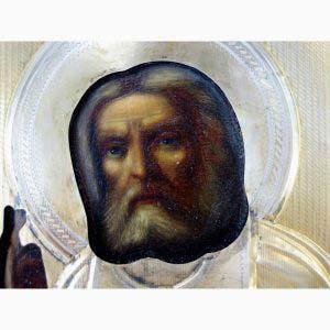 Икона «Св. Серафим Саровский». Масло, дерево, серебро 84, золочение. Россия, XIX век («неорусский» стиль). Размеры: 21х17 см.