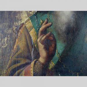 Икона «Св. Василий». Дерево, темпера, золочение. Размеры: 22х28 см. Россия, XIX век («неорусский» стиль).