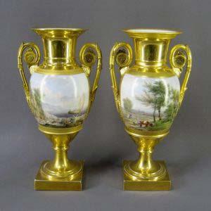 Парные вазы. Ручная роспись, золочение. Франция, Севр, XIX век. Высота: 37 см.