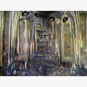 Икона «Соловецкие Святые Зосим и Савватий». Дерево, темпера, латунь, золочение. Россия, XIX век. Размеры: 15х18 см.