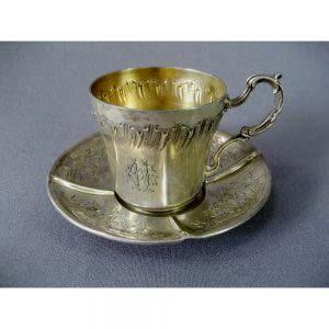 """Кофейная пара. Серебро 950, М= 107,0 г, золочение. Франция, XIX век («неорококо"""")."""