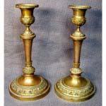 Парные подсвечники. Бронза, патинирование. Европа, XIX век. Высота: 20 см.