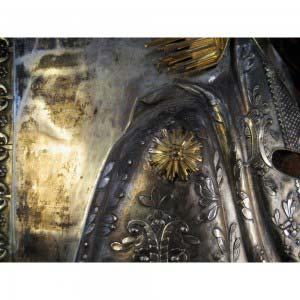 Икона «Образ Пресвятой Богородицы Толгской». Дерево, темпера, бронза, глубокое серебрение, глубокое золочение. Россия, начало XIX века. Размеры: 48х61 см.