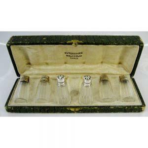 Набор для специй. Серебро 800; стекло. Франция, XIX век.