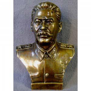 Кабинетная пластика «Бюст И. В. Сталина». Бронза, патинирование. Россия, ХХ век. Высота: 17 см.
