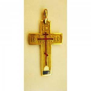 Подвеска-крест. Золото 56; М= 3,38 г; горячая многоцветная эмаль. Россия, XIX век.