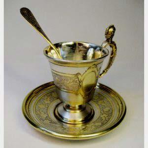 """Кофейная пара. Серебро 800 пробы; М= 103,0 г., золочение. Высота: 6,5 см. Германия, XIX век (стиль """"ампир"""")."""
