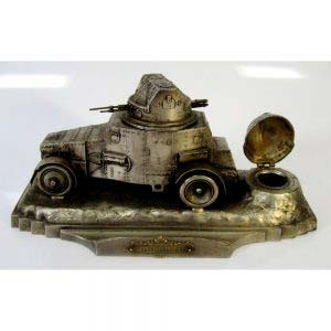 """Письменный прибор """"Броневик"""". Металл, серебрение, стекло (чернильница). Размеры: 9,5х19,5 см. Франция, начало XX века."""