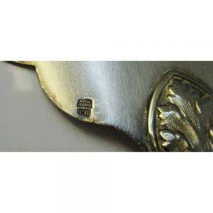 Раздаточный набор для рыбы. Ручки предметов: серебро 950 пробы. Рабочие части предметов: сталь. Франция, XIX век.