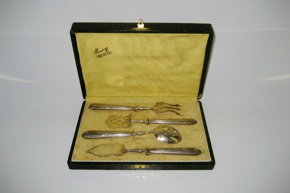 Набор для завтрака. Серебро 950 пробы, сталь. Франция, Каркассон, рубеж XIX-ХХ веков.