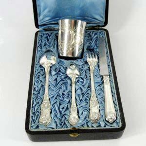 Подарочный набор «Эгоист». Серебро 950 пробы, М= 222,0 г. сталь. Франция, XIX век.