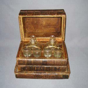 Кабинетный бар «Книги». Кожа, стекло, золочение, травление. Франция, первая половина XIX века.