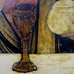 """Икона """"Господь Вседержитель"""". Дерево, левкас, темпера, бронза, золочение. Россия, XIX век. Размеры: 31х27 см."""