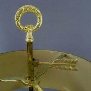 """Настольная лампа. Металл, бронза, золочение. Франция; начало ХХ века; Стиль """"историзм"""" с элементами """"ампира"""". Максимальная высота лампы: 61,0 см."""
