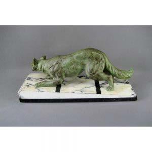 Кабинетная скульптура «Лиса». Автор: F.H.DANVIN.Бронза, мрамор. Франция, Париж, 1937 год («арт-деко»).
