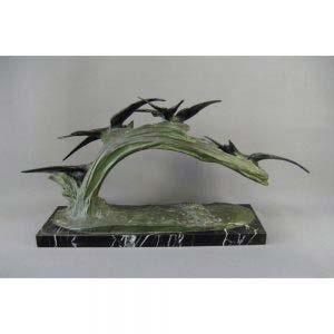 Кабинетная скульптура «Птицы». Автор: M. Fior. Бронза, мрамор. Франция,20-е годы ХХ века ( «арт-деко»).