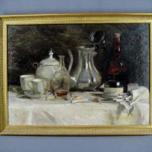 """Натюрморт"". Неизвестный художник. Холст, масло. Западная Европа, начало ХХ века. Размеры: 43,0х59,0 см."