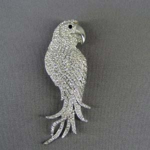 """Подвеска-брошь """"Попугай"""". Металл, кристаллы Сваровски. Франция, ХХ век. Размеры: 12,0х4,0 см."""