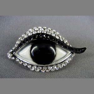"""Брошь """"Глаз"""". Металл, эмаль, кошачий глаз (выращенный), кристаллы Сваровски. Франция, ХХ век. Длина: 5,0 см."""