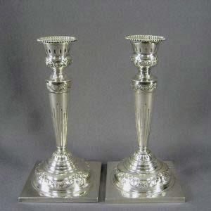 Парные подсвечники. Серебро 950 пробы; М=435,0 г. Франция, рубеж XIX-ХХ веков. Высота: 18,0 см.