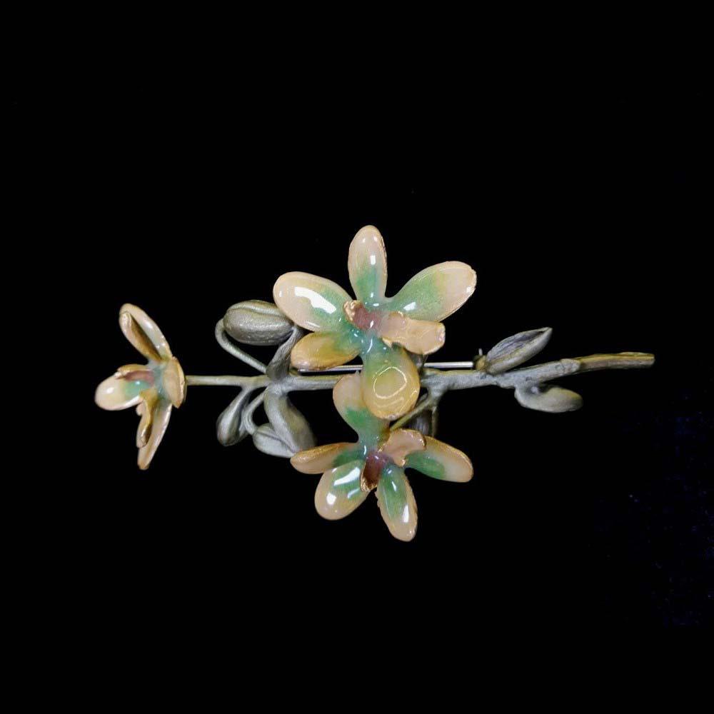 """Брошь """"Ветка орхидеи"""". Бронза, горячая эмаль, ручная работа. США, Мишель Мишу (Michael Michaud), 21 век. Длина: 9,0 см."""