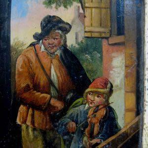 """Картина """"Уличные музыканты"""". Дерево, масло. Европа, XIX век. Размеры: 9,5х12,5 см."""