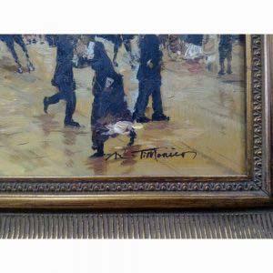 """Картина """"Осенний день в Париже"""". Холст, масло, н.х. Франция, XIX век. Размеры холста: 38х31 см; размеры картины в раме (багет оригинальный): 56х45 см."""