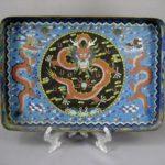 """Декоративный поднос """"Дракон"""". Металл, цветная перегородчатая эмаль. Восток, XIX век. Размеры: 33х22 см; высота бортика: 2,5см."""