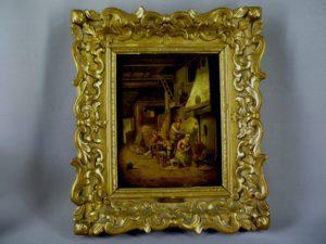 Парные картины. Дерево масло, левкас золочение. Европа, первая половина XIX века. Размеры: с рамой: 36х42 см; без рамы: 21х28 см.