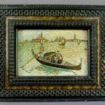 """Настенное панно """"Венеция. Гондольеры"""". Дерево (рамка), итальянская микромозаика. Италия, рубеж XIX-XX веков. Размеры: с рамкой: 25х20 см; без рамки: 15х10 см."""
