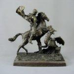 Кабинетная скульптура «Св. Георгий Победоносец». Бронза, патинирование. Европа, ХХ век. Максимальная высота: 30,0 см; подиум: 26х14 см.