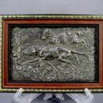 Панно «Охота». Металл, серебрение, патинирование (гальванопластика). Европа, рубеж XI-ХХ веков. Размеры (с рамой): 14х223 см.