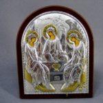 Икона настольная «Святая Троица». Серебро (гальванопластика), золочение. Россия, 21 век. Размеры: 9,0х11 см.
