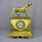 """Кабинетные часы """"Конь"""". Бронза, золочение, патинирование, мрамор. Франция, XIX век. Максимальная высота: 45,0 см; подиум: 26х29х19 см."""