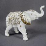 """Статуэтка """"Слон"""". Фарфор, ручная роспись, золочение, стразы. Европа. Высота (по хоботу): 13,0 см."""