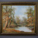 """Картина """"Осенний пейзаж"""". Холст, масло, н.х. Англия, середина ХХ века. Размеры (с рамой): 47х53 см; размеры (без рамы): 37х43 см."""