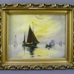 """Парные картины """"Морская прогулка"""". Холст, масло, н.х. Голландия, 1925 год. Размеры (с рамой): 32х40 см; холст: 23х32 см."""