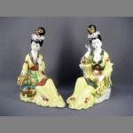 """Парная композиция """"Чайная церемония"""". Фарфор, бисквит, ручная роспись, золочение. Китай, начало 80-х годов ХХ века. Высота: 32,0 см."""